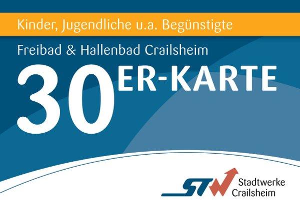 30er Karte Kinder/Jugendliche/Begünstigte Bäder Crailsheim